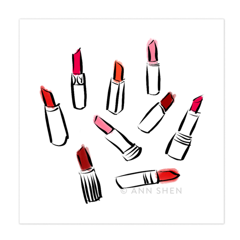 Beauty Department – Lipstick Art Print 8x8""