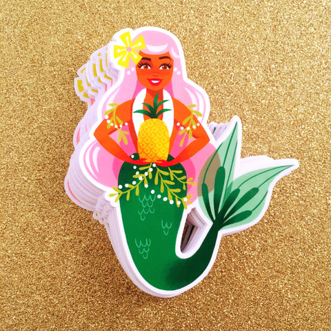 Pink Pineapple Mermaid Sticker