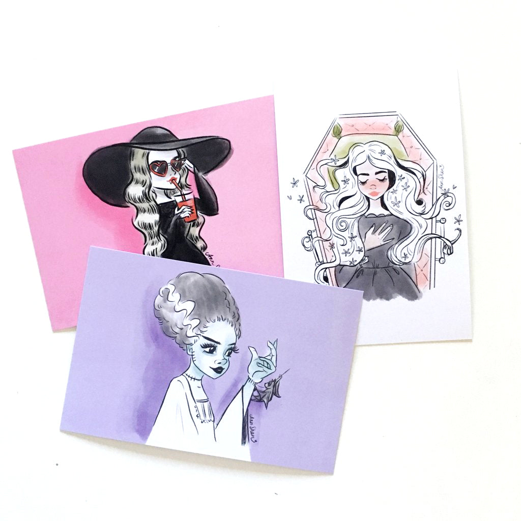 "Drawlloween 2017 – 4x6"" Postcard Set"