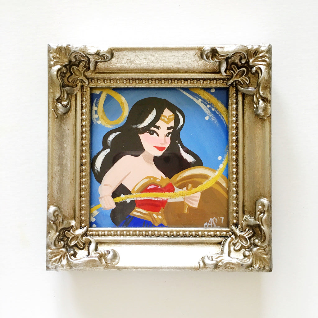 Original Tiny Painting – Wonder Woman, Golden Lasso of Truth