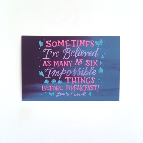 "Six Impossible Things – Single 4x6"" Postcard"
