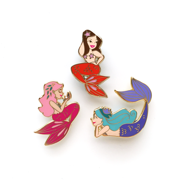 ENAMEL PIN – Sunset Mermaid, Limited Edition Brunette