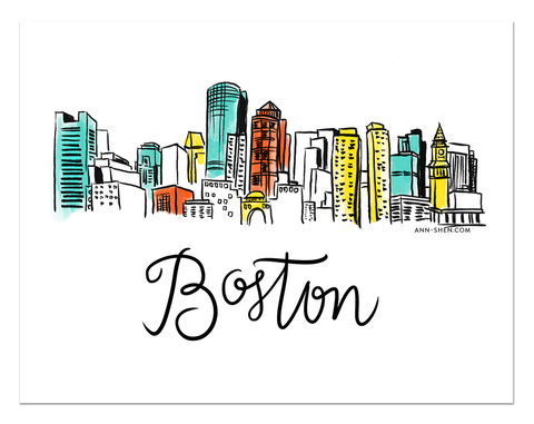 City Love – Boston Art Print 10x8""