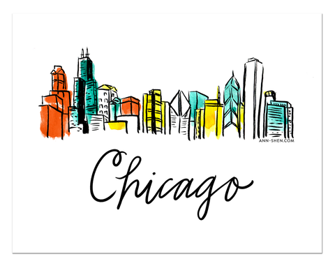 City Love – Chicago Art Print 10x8""