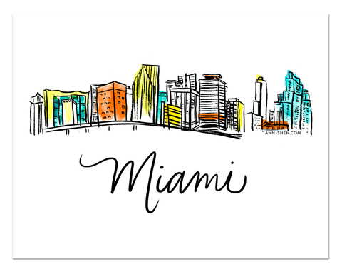 City Love – Miami Art Print 10x8""