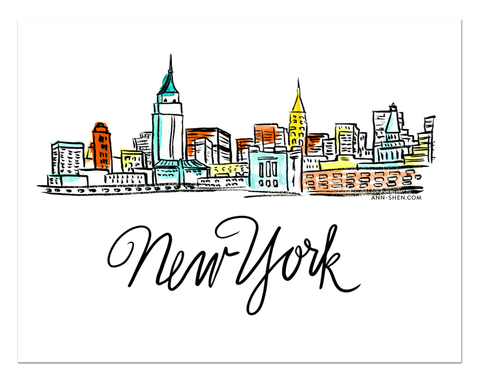 City Love – New York City Art Print 10x8""