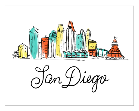 City Love – San Diego Art Print 10x8""