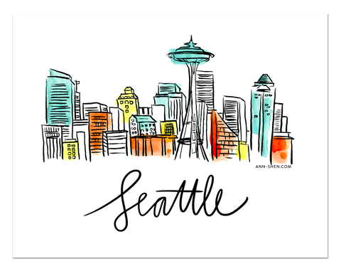 City Love – Seattle Art Print 10x8""