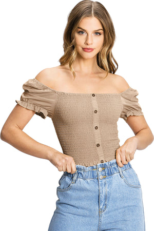 Milkmaid Smock Crop Top