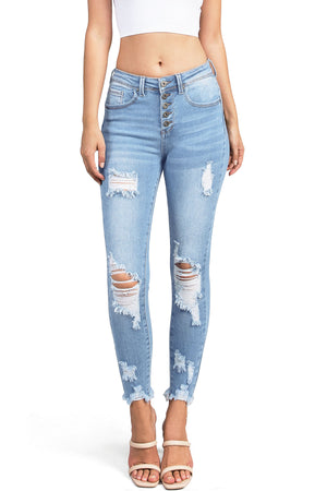 Mechanical Distressed Skinny Jeans