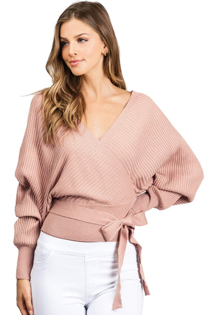 Surplice Knit Sweater Top