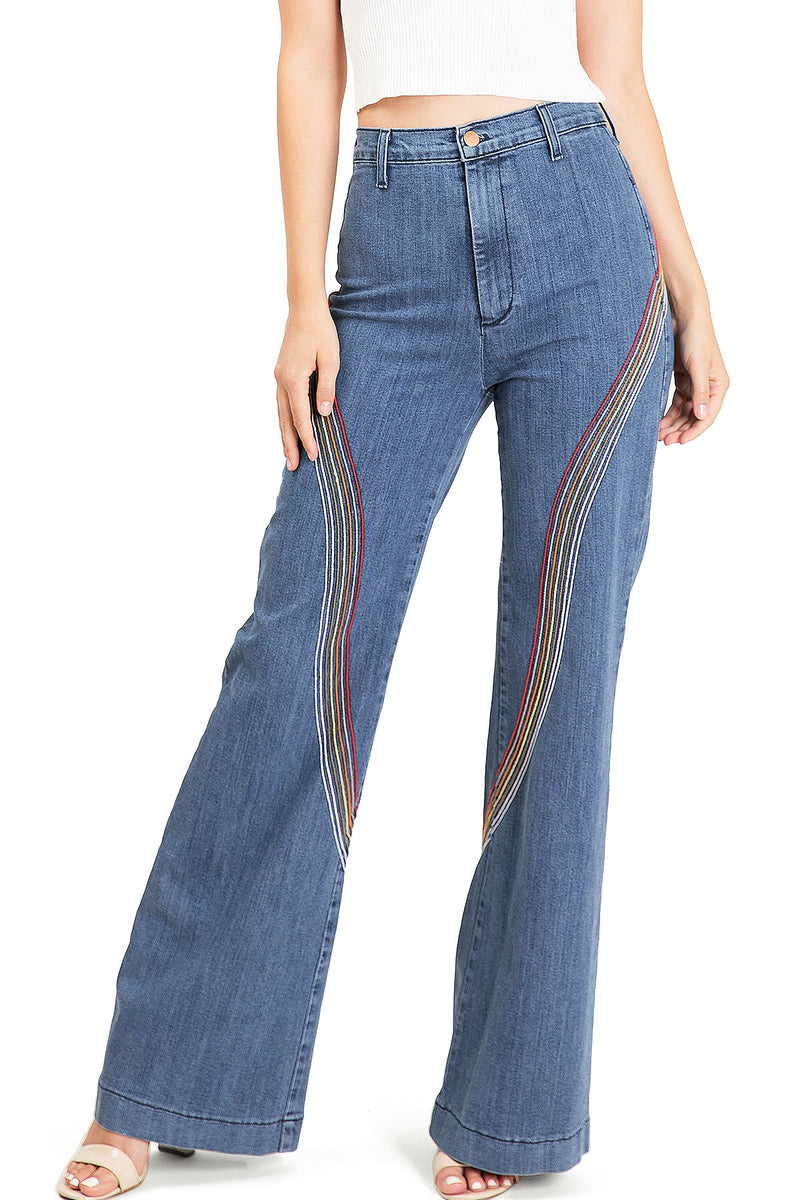 Retro Rainbow Wide-Leg Denim