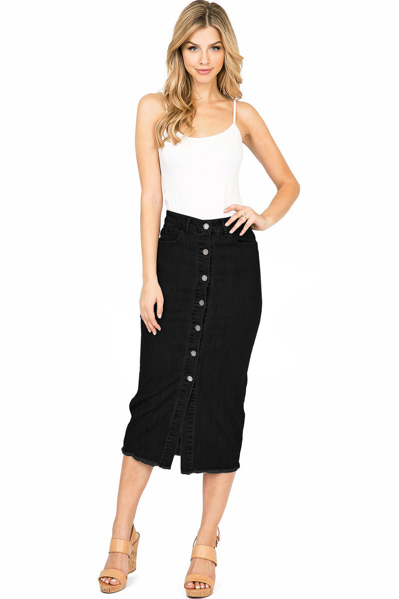 Demure Denim Midi Skirt