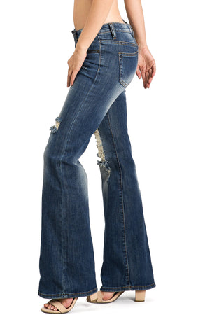 Quinn Low-Rise Denim Flares