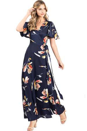 Midnight Floral Wrap Maxi Dress
