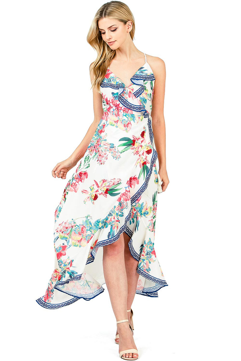 Sunrise Bloom Wrap Dress