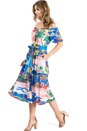 Tahitian Sunrise Midi Dress