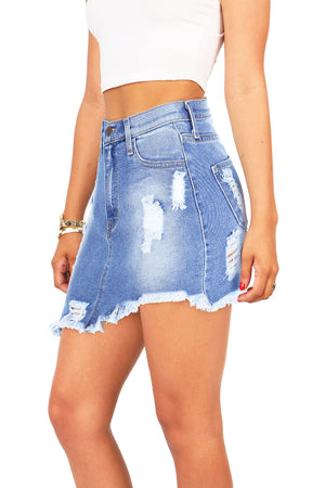 Jagged Edge Denim Skirt