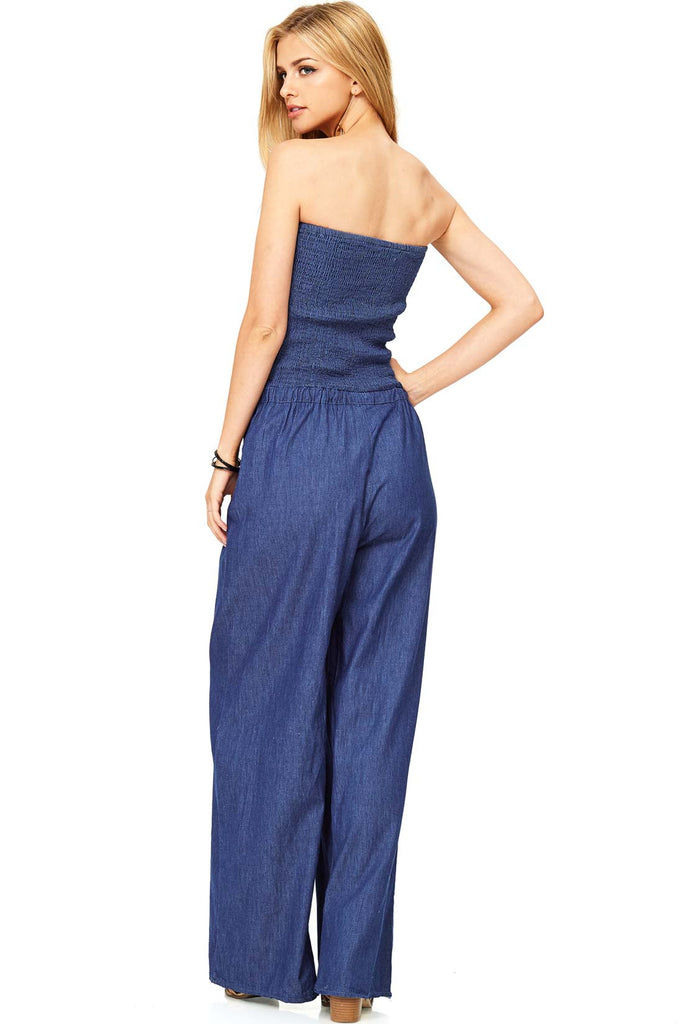Retro Smocked Chambray Jumpsuit
