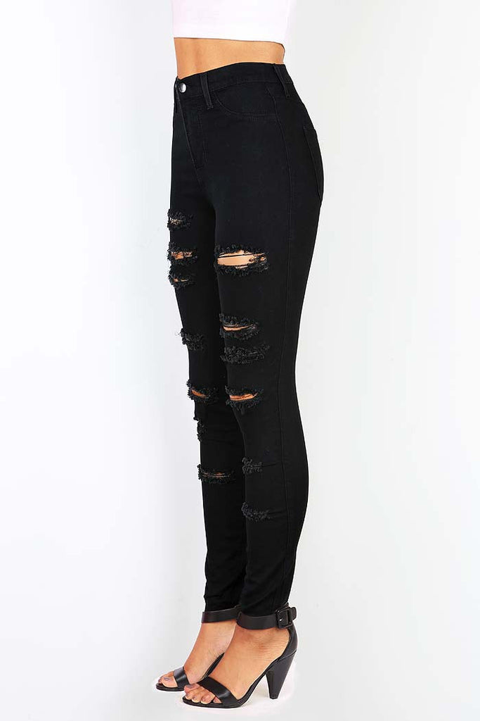 Patch Cut High Waist Pants