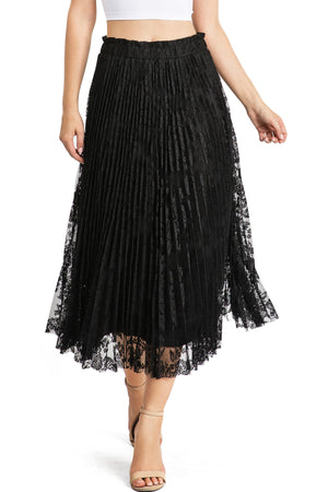 Midnight Lace Pleat Midi Skirt