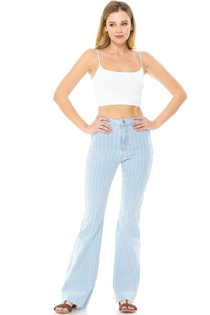 Pin Stripe High Rise Flares