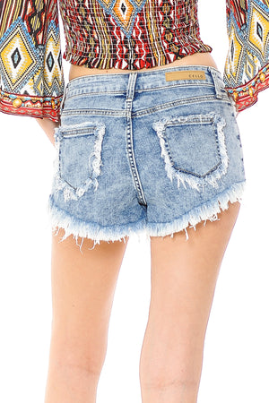 Tidal Frayed Denim Shorts