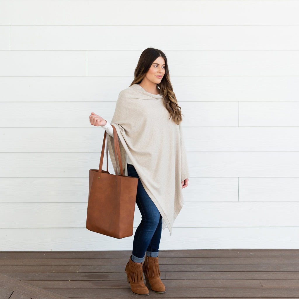 Organic Cotton Travel Poncho - Birch by top Organic Cotton Boutique, Zestt