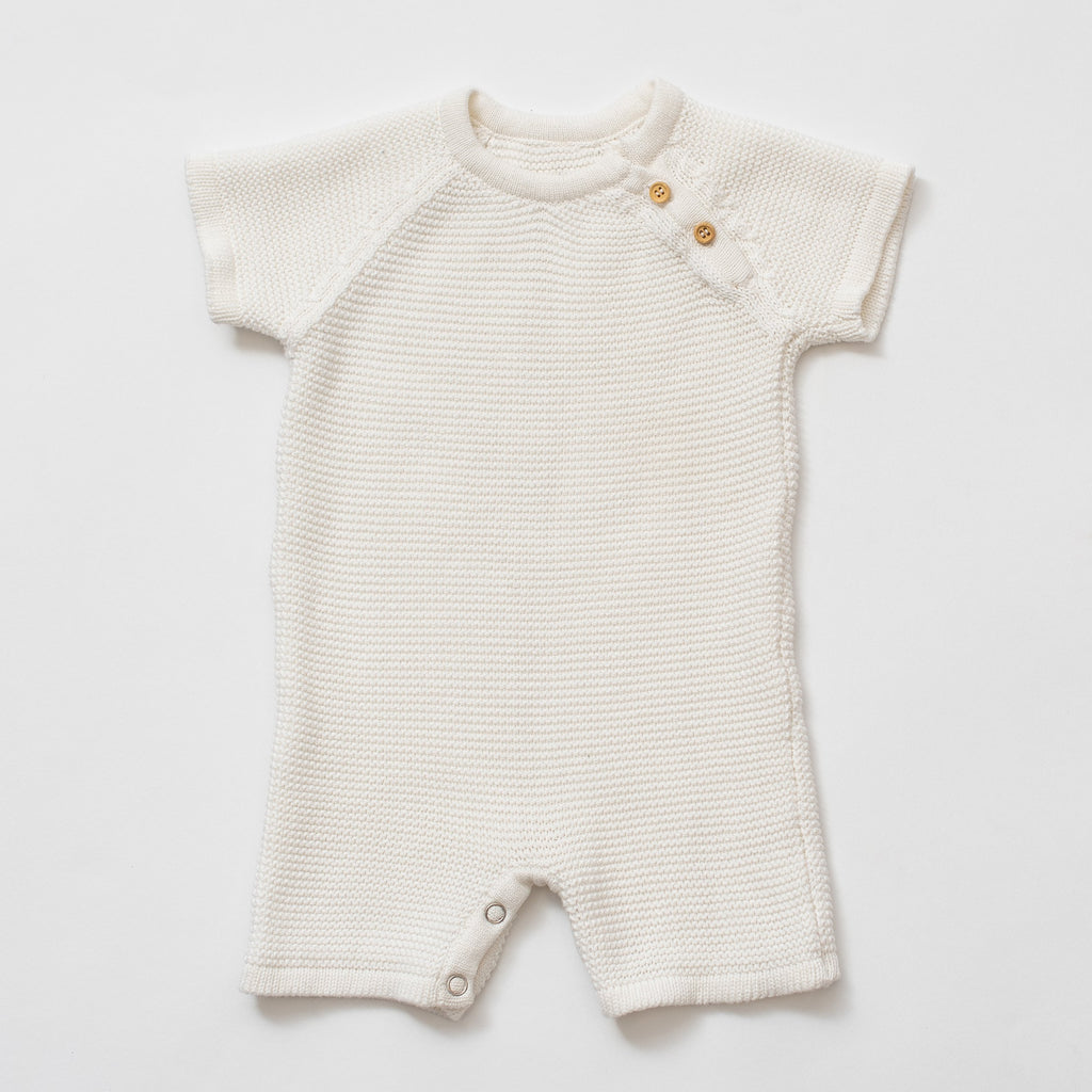 Organic Cotton Knit Baby Romper - White. by top Organic Cotton Clothing Boutique, Zestt