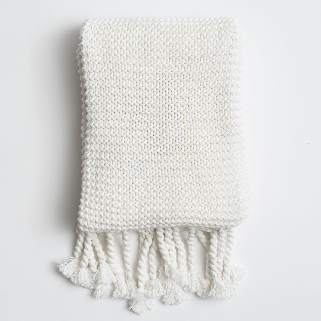 Organic Cotton Comfy Knit Throw - Soft White