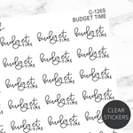 Budget Time TRANSPARENT Script Sticker Sheet