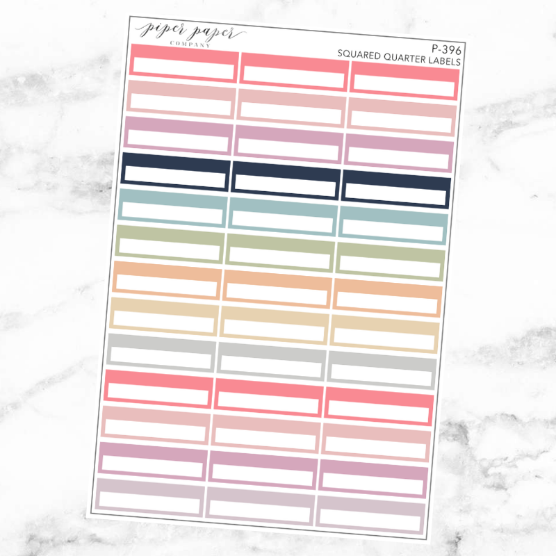 Pastel Squared Quarter Label Sticker Sheet