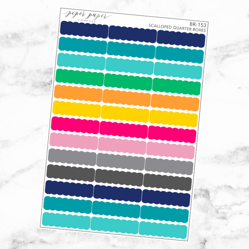 Bright Scalloped Quarter Box Sticker Set