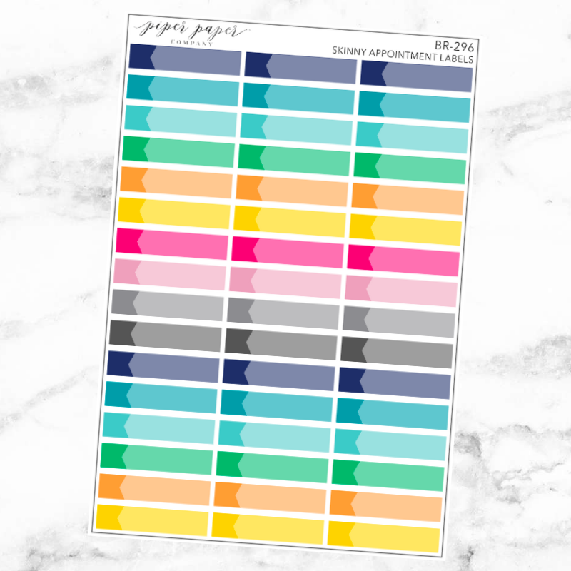 Bright Skinny Appointment Label Sticker Set