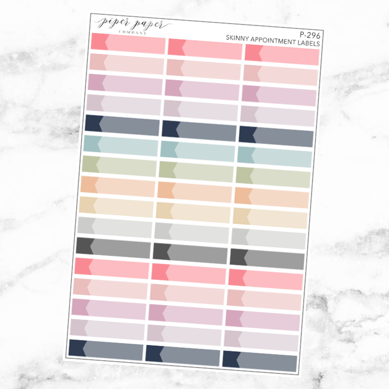 Pastel Skinny Appointment Label Sticker Sheet