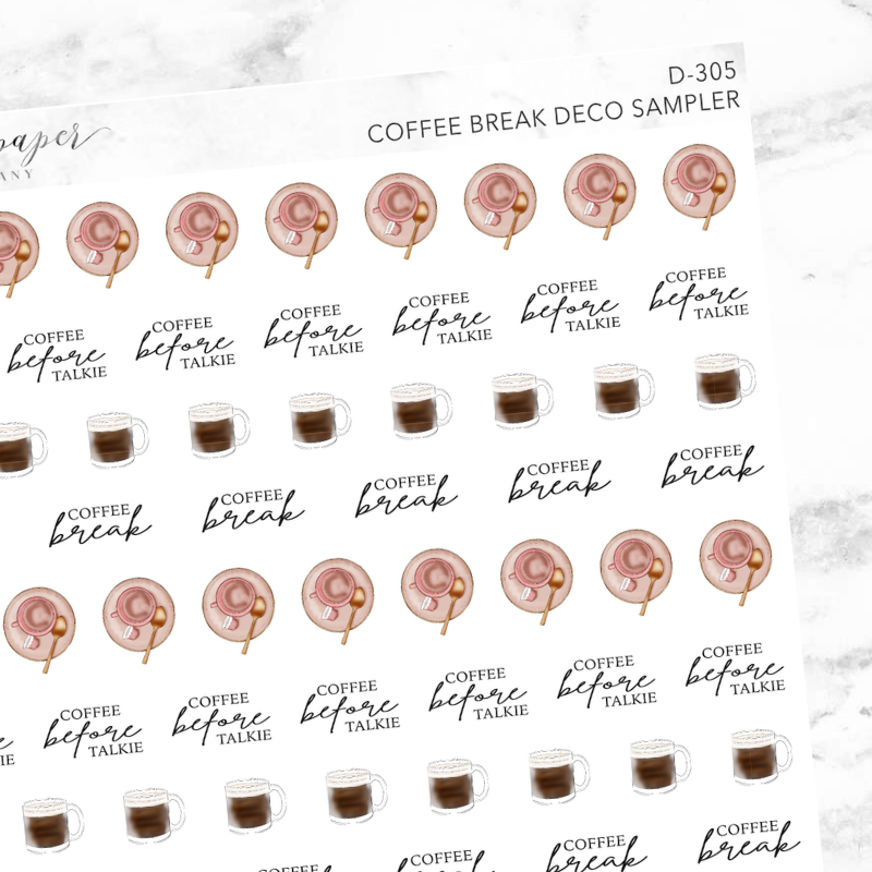 Coffee Break Deco Sampler Sticker Sheet