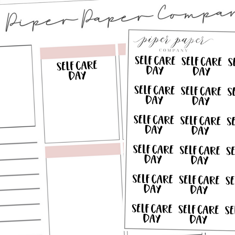 Self Care Day Mini Script Sticker Sheet