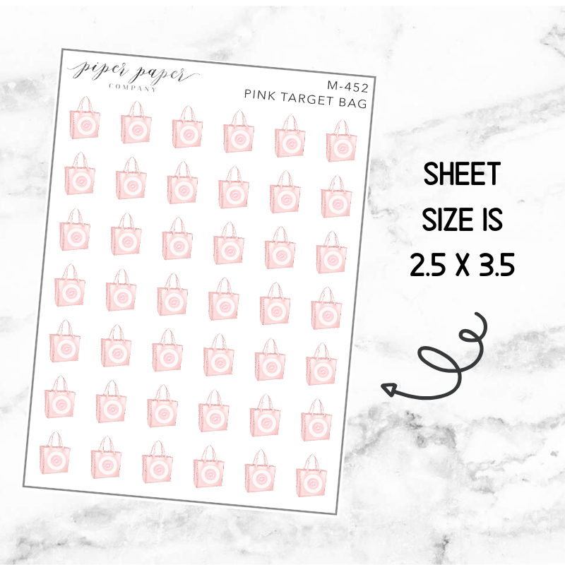 Pink target Bag Mini Deco Sticker Sheet