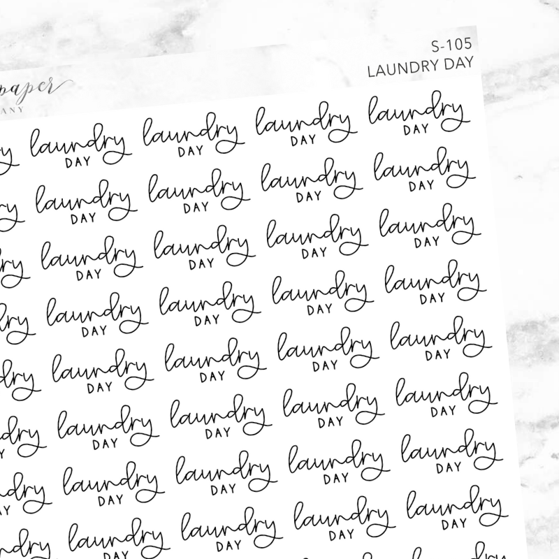 Laundry Day Script Sticker Sheet