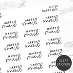Happy Mail TRANSPARENT Script Sticker Sheet