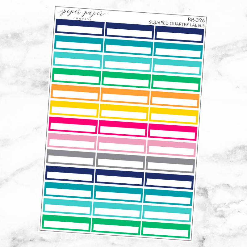 Bright Squared Quarter Label Sticker Set