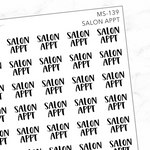 Salon Appt Mini Script Sticker Sheet