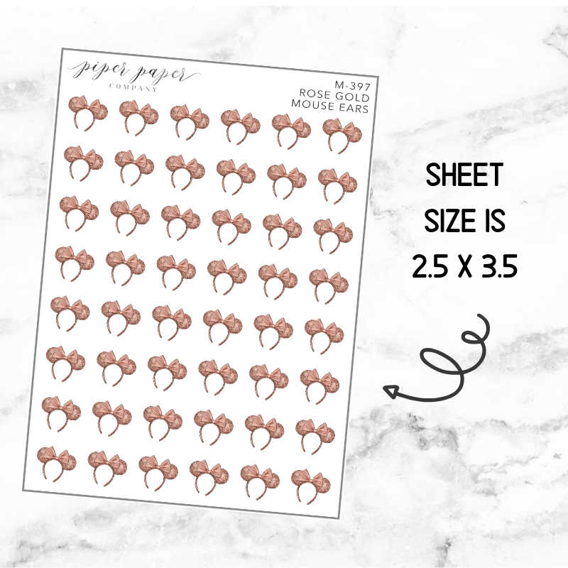 Rose Gold Mouse Ears Mini Deco Sticker Sheet
