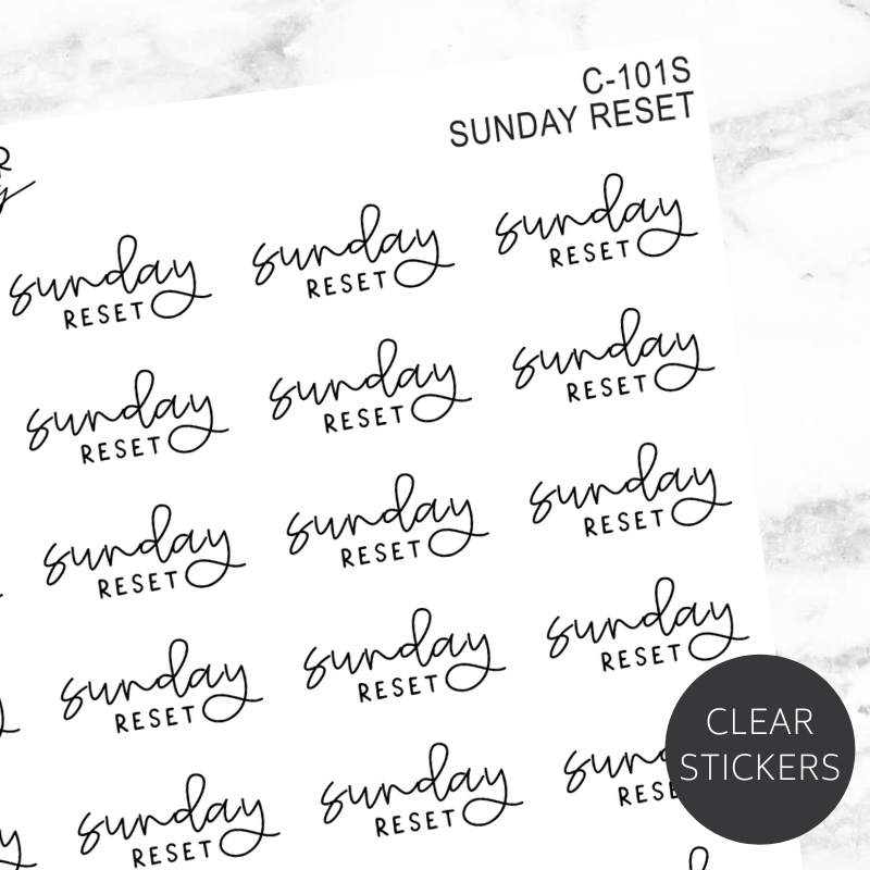 Sunday Reset TRANSPARENT Script Sticker Sheet