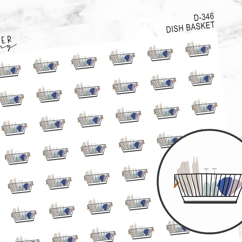 Dish Basket Deco Sticker Sheet