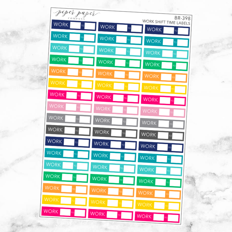 Bright Work Shift Label Sticker Set