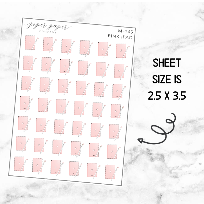 Pink Ipad Mini Deco Sticker Sheet