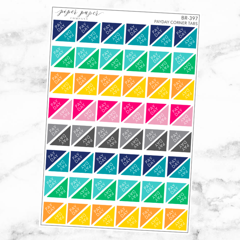 Bright Payday Corner Tab Sticker Set