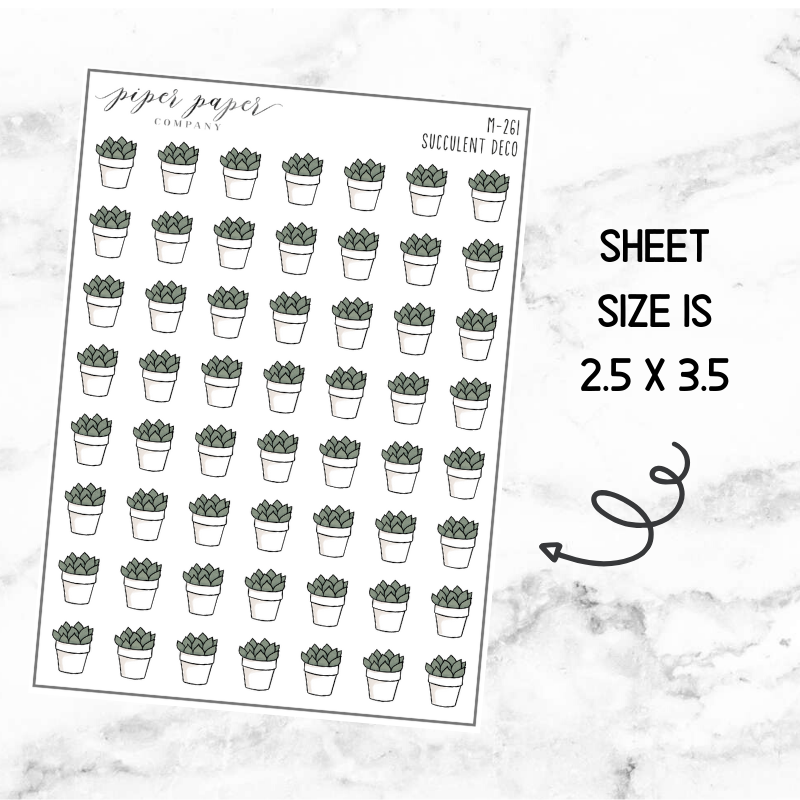 Succulent Mini Deco Sticker Sheet