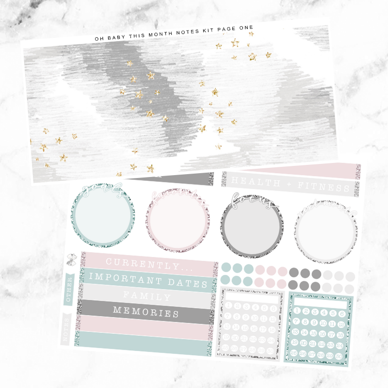Oh Baby Monthly Notes Page Kit For The Vertical ECLP
